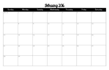 2016 Monthly Calendar (11x17)