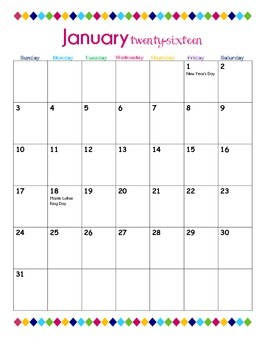 2016 Monthly Calendar Vertical