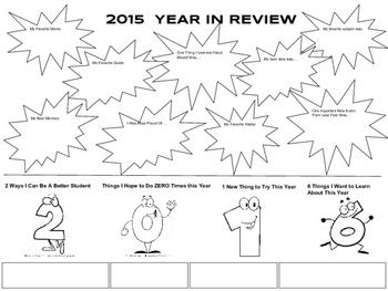 2016 New Year Activity Sheet - Reflecting on 2015 & Prepar