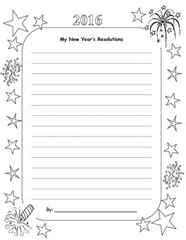 2016 New Year's Resolution Writing Paper