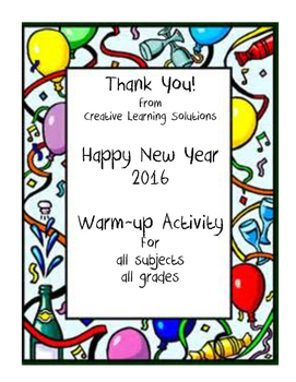 2016 New Year's Warm-Up Activity-Thank You from CLS!