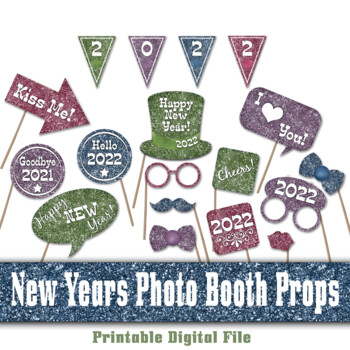 2018 New Years Eve Photo Booth Props and Decorations - Colorful Glitter
