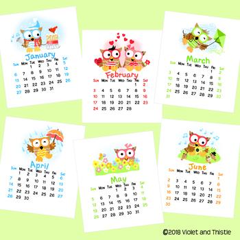 2017 Owls CD Calendar Printable Desktop Calendar