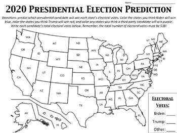 2016 Presidential Election Prediction Map | TpT