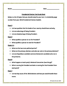 2016 Presidential Election Test Study Sheet
