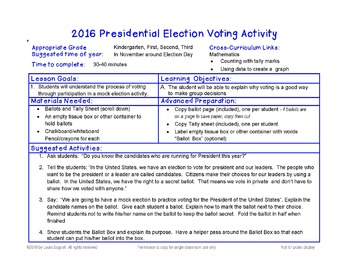 2016 Presidential Election Voting Activity with Ballot for K, 1, 2, 3