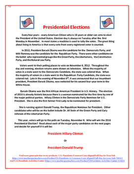 2016 Presidential Elections Freebie