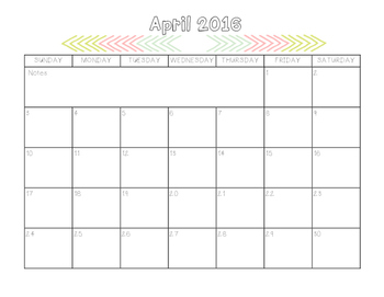 2016 Printable Monthly Calendars