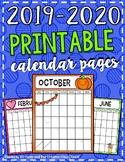 2019-2020 EDITABLE Printable Portrait Calendar