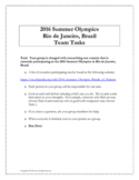 2016 Rio Summer Olympics Collaborative Math Team Project (Middle School)