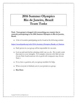 2016 Rio Summer Olympics Collaborative Math Team Project (