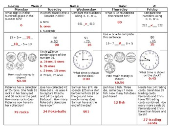 2016 SOLs: Bundle: Grade 3 - Math Spiral Review for Weeks 1-18
