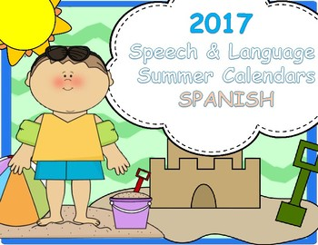 2016 Summer Articulation and Language Calendars! SPANISH!