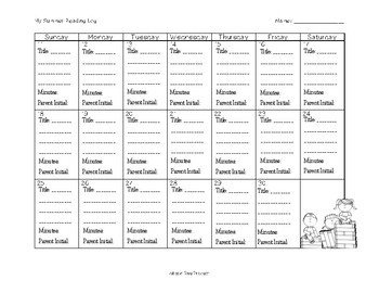 2017 Summer Reading Log Calendar