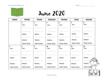 2017 Summer Reading Log Calendar