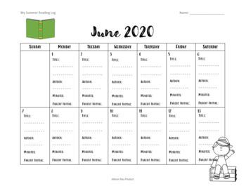 2016 Summer Reading Log Calendar