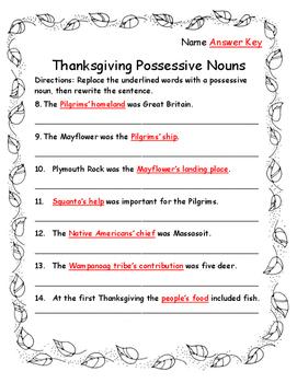 Thanksgiving Activities Language Arts Singular and Plural Possessive Nouns