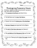 Thanksgiving Activities Language Arts Singular and Plural Possessive Nouns
