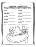 Thanksgiving Grammar Thanksgiving Syllable Separate Thanksgiving Language Arts