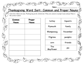 Thanksgiving Activities 2nd - Word Sort Common and Proper Nouns Thanksgiving ELA