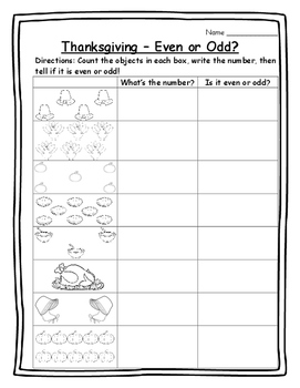 Thanksgiving Math Activities Even or Odd Numbers - Thanksg