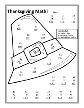Math Thanksgiving Math Activities Thanksgiving Color by Number Addition Activity