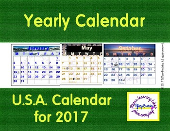 Yearly U.S.A. Calendar (2017 US)
