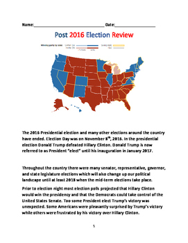 2016 United States Election - Post Review President, Congress, States Review