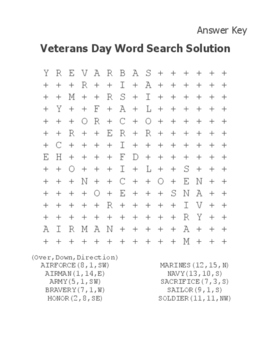 Free Veterans Day Activities Veterans Day Free Word Search Activity