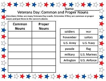 Veterans Day Grammar Activities Word Sort Common & Proper Nouns Veterans Day