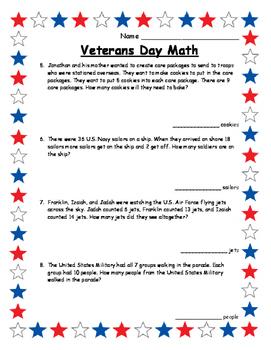 Math Veterans Day Activities Math Word Problems Math Veterans Day
