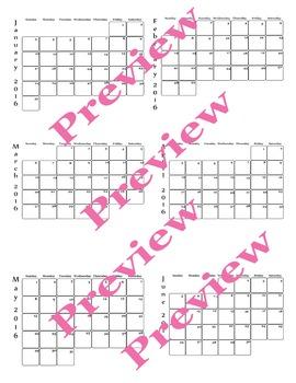 2016 calendar January to June