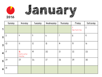 2016 calendar with US holidays