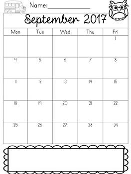 2017-18 Editable Behavior Calendars