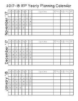 2017-18 IEP Yearly Calendar