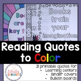 2017-18 Monthly Printable Calendar with Reading Quotes to Color