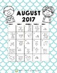 2017-18 Monthly Writing Calendars
