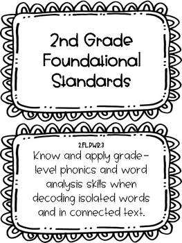 2017-18 Second Grade Tennessee State Standard ELA Posters