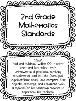 2017-18 Second Grade Tennessee State Standard Math Posters