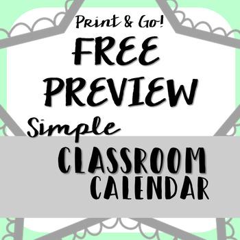 2017-18 Simple Calendar August-September Freebie