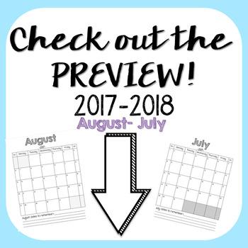 2017-18 Simple Classroom Calendar