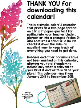 2017-18 Watercolor Flower Two Page Spread Calendar