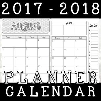 2017-2018 2 Page Planner Calendar