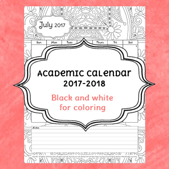 2017-2018 Coloring Academic Planning Calendar