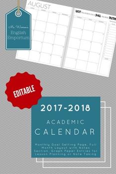 2017-2018 Academic Planner - Editable