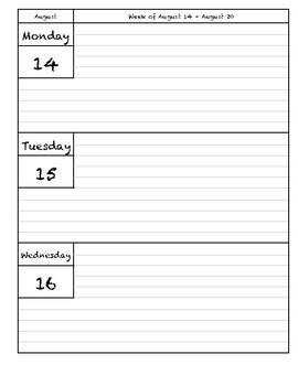 2017 - 2018 Agenda - Teaching - Cardstock dividers