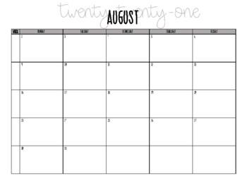 2017-2018 August - June Calendar, Monday - Friday