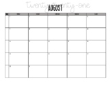 2017-2018 August - June Calendar, Monday - Friday