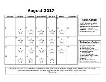2017-2018 Behavior Calendar EDITABLE!