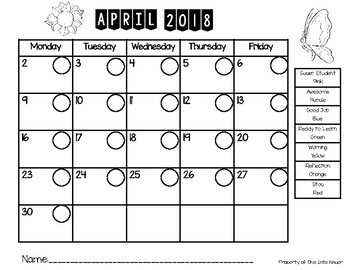 2017-2018 Behavior Calendar and Behavior Chart